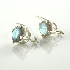 Labradorite Silver Earrings, Sterling Silver Labradorite Earrings, Labradorite Jewelry, Gift For Women, 8mm Round Faceted Gemstone Earrings