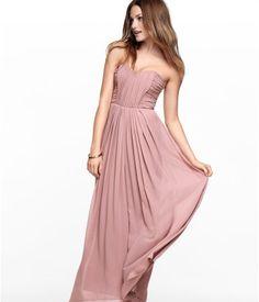 H - dusty pink chiffon maxi dress