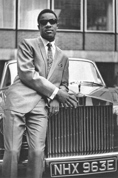 Stevie Wonder outside of EMI Records in Manchester Square, London, 1967. The company was celebrating Stevie's three British chart hits that year - A Place in the Sun, I Was Made to Love Her, and I'm Wondering.        by Jan Olofsson