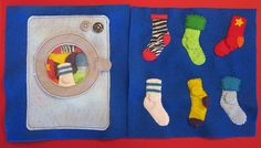 Quiet book sock matching page: washing machine on one side, socks on the other, take the socks out of the washing machine to match. TOO CUTE! Plus template.