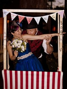 20 DIY Carnival Theme Wedding Ideas   Confetti Daydreams - DIY Vintage Circus #Kissing #Booth for your guests to get snapped while puckering up! ♥  #Carnival #Circus #Theme #Wedding #DIY