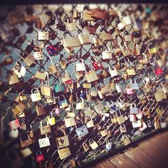 Bonjour from Paris!  Feeling romantic looking at all of these love locks on the bridge.
