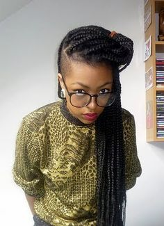BOX BRAIDS / UNDERCUT / SHAVED / BOX BRAIDS / PONYTAIL / HAIRSTYLE / HAIR / DOOKIE BRAIDS / PROTECTIVE HAIRSTYLE / POETIC JUSTICE BRAIDS