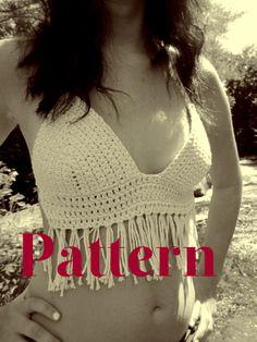 PATTERN White Fringe Crochet Hippie Bohemian Boho by LauleaAliyah, $5.90