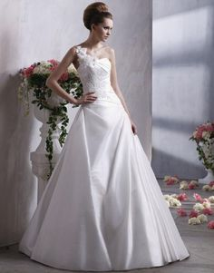 Isn't this one shoulder wedding dress gorgeous?  It's by Anjolique C166. Available in pale ivory and white. evening dresses, wedding dressses, church weddings, ball gowns, bridesmaid dresses, one shoulder, wedding dress styles, appliques, flower