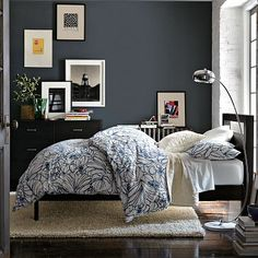 Blue-grey walls with light bedding - love it