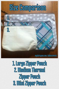 Size comparison for zipper pouches    #ThirtyOne #ThirtyOneGifts #Organize #Monogram #Personalize #Bag #Tote