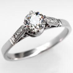 Antique Old Euro Diamond Engagement Ring Platinum Art Deco 1920's
