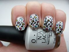 Cute colourful leopard nails