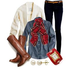 Cream cardigan, black skinny jean, knee high boots, plaid scarf, denim or blue buttom up shirt... equals... cute.