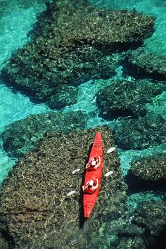 * Kayakers in clear blue water off the shore of San Jose Island - Baja, Mexico