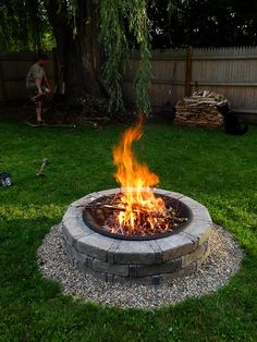 Fire pit, i like the little stones on the outside