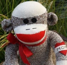 "My ""Harley"" #sock monkey with the ""MOM"" tattoo."