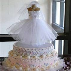 Bridal Shower cake topper I designed from the brides wedding dress