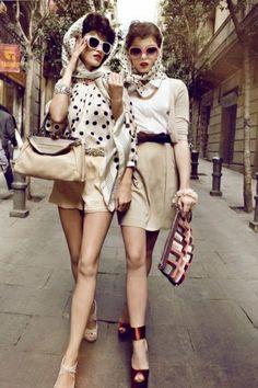 head scarfs, retro styles, retro chic, polka dots, dress, retro fashion, scarv, friend, vintage style