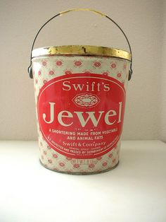 Swifts Jewel Lard Tin Collectible Advertising Shortening Tub with Diamonds 8 POUND Collectors Tin