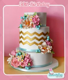 30th Birthday Cake with sugar flowers