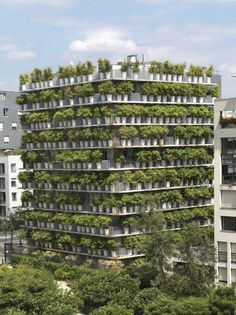 residential architecture, green building, paris, towers, flower pots, pot plants, flowers, flower tower, garden buildings