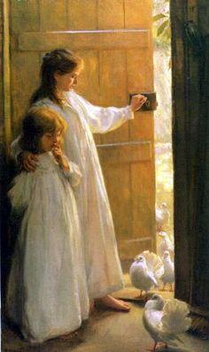 two sisters, beauti paint, art paint, children, perci harland