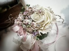 Ivory and Shades of Pink Country French  by KAArtisticEvents, $125.00