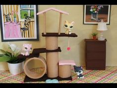 by request: let your doll pets live in style :o) ***for an 18 inch doll I would an oatmeal container instead of the duct tape tube and paper towel tubes instead of toilet paper rolls :o) please make request at: http://www.myfroggystuff.blogspot.com  facebook : http://www.facebook.com/pages/My-Froggy-Stuff/138993812811851?sk=wall=1  fun st... Cats, Lps Crafts, My Froggy Stuff Crafts, Barbi Craft, Evan Stuff, Diy Barbi, American Girl Doll Pet Crafts, Doll Stuff, Doll Cat