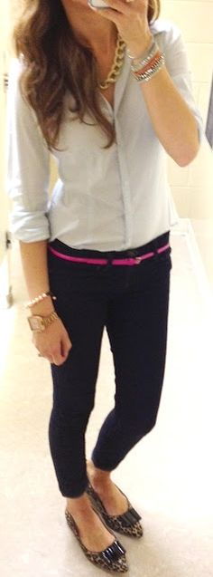 (Teacher Style) Dark blue skinny ankle pant - light blue button up blouse - thick gold chain necklace - hot pink skinny belt - leopard print flats