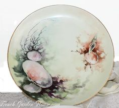 Pair Antique Handpainted French Haviland Limoges Shell Plates