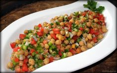 Chickpea Salad Recipe w/ Lemon, Tomato And Bell Peppers - such a fresh and delicious lunch recipe! | So easy! @debra gaines Lapierre