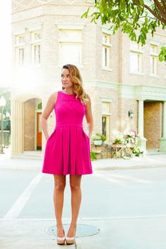 lc lauren conrad: hot pink dress + nude heels
