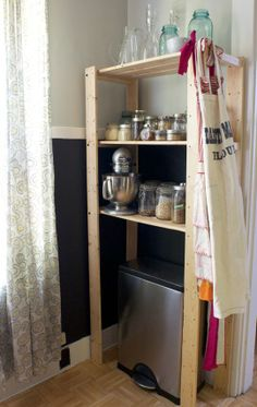 Could do shelves like this in front of under stairs cupboard?