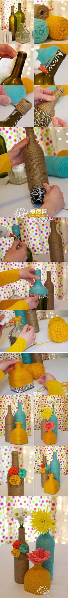 Wrapped Bottles DIY. Hot gun
