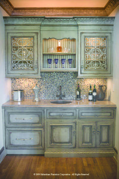 Green rustic cabinets, love the colors!