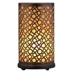 """Set of two cylinder accent lamps with openwork detail.Product: Set of 2 table lampsConstruction Material: MetalColor: BrownFeatures: UL listedAccommodates: (1) 60 Watt bulb each - not includedDimensions: 15"""" H x 8"""" Diameter each"""