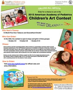 ART CONTEST FOR KIDS IN GRADES 3RD-12TH  American Academy of Pediatrics (AAP) Hosts International Art Contest For Kids and Teens