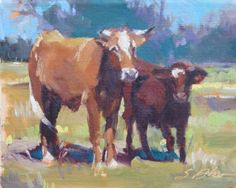 Landscape Painting Texas Ranch Cows 8 x 10 oil by SuzieBakerArt, $260.00