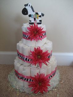 Zebra Print & Hot Pink Baby Shower - Diaper Cake