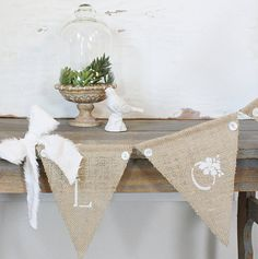 color scheme ideas:  burlap, white, and green