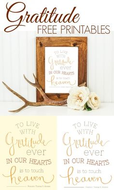 Gratitude Free Printables - www.classyclutter.net