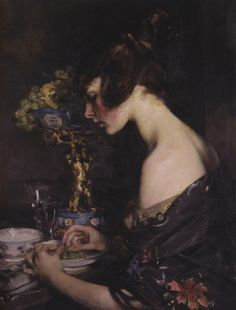 ▴ Artistic Accessories ▴ clothes, jewelry, hats in art - James Jebusa Shannon | The sevres vase