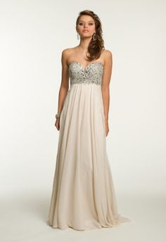 Beaded Plunge Grecian Dress from Camille La Vie and Group USA long dresses #nudedresses