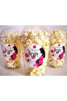 She's ready to pop popcorn from Etsy. Baby shower food ideas. For everyone when they leave the shower