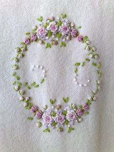 Bullion stitch embroidered roses