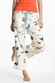 Bird Chatter Flannel Loungers #anthropologie