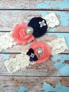 Wedding garter SET /navy rosette / coral. My colors!