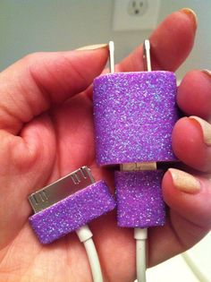 I might need to do this.. Just use nail polish, or sharpie to customize your Iphone charger so you don't leave a friend's house with the wrong one! nail polish crafts, crafts with nail polish, crafts to do with nail polish, nail polish iphone charger, diy iphone accessories, travel accessories, glitter nails, diy nail polish ideas, iphon charger