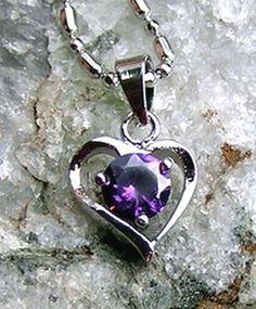 Amethyst Heart Pendant - Vintage - Valentines Gift