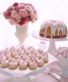 melting moments, dessert tables, bundt cakes, pink desserts, dessert buffet, cake stands, dessert bars, bridal showers, pink parties