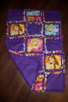 Disney Princess Quilted No Sew Fleece Blanket 27 x 42 via Etsy