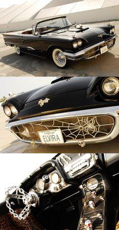 Horror car ride, wheel, tbird, dream car, elvira car, spider web, elvira 1958, 1958 thunderbird, thunderbirds