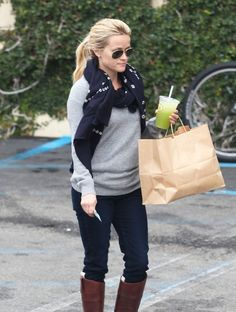 Casual outfit - Grey sweater with navy cords and boots... great fall outfit